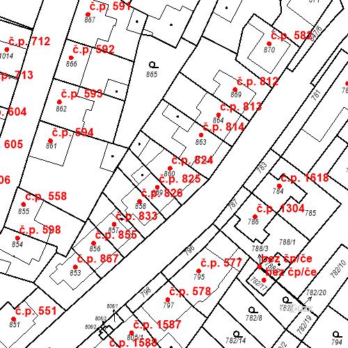 Katastrální mapa Stavební objekt Tachov 824, Tachov