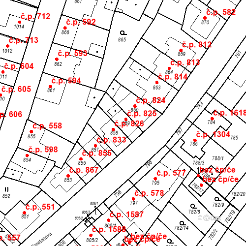 Katastrální mapa Stavební objekt Tachov 825, Tachov