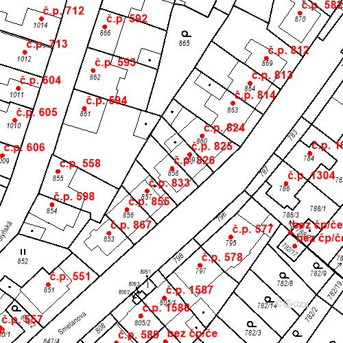 Katastrální mapa Stavební objekt Tachov 826, Tachov