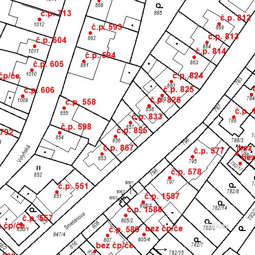 Katastrální mapa Stavební objekt Tachov 833, Tachov