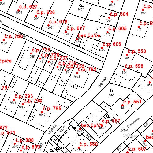 Katastrální mapa Stavební objekt Tachov 792, Tachov