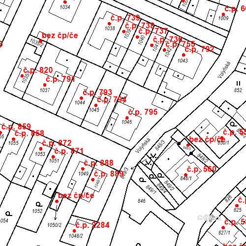 Katastrální mapa Stavební objekt Tachov 795, Tachov