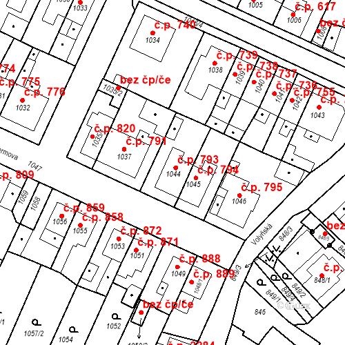 Katastrální mapa Stavební objekt Tachov 793, Tachov