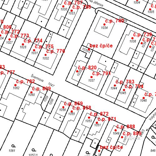 Katastrální mapa Stavební objekt Tachov 820, Tachov