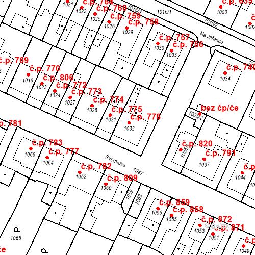 Katastrální mapa Stavební objekt Tachov 776, Tachov