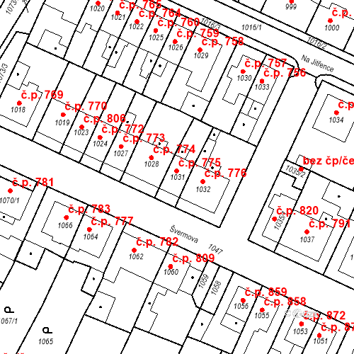 Katastrální mapa Stavební objekt Tachov 775, Tachov