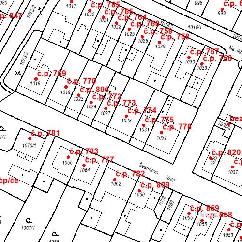 Katastrální mapa Stavební objekt Tachov 774, Tachov