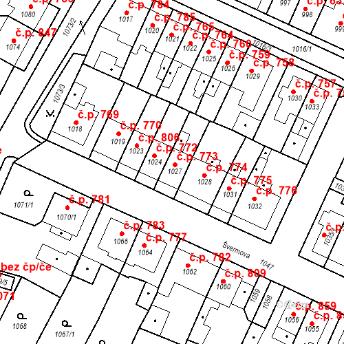 Katastrální mapa Stavební objekt Tachov 773, Tachov