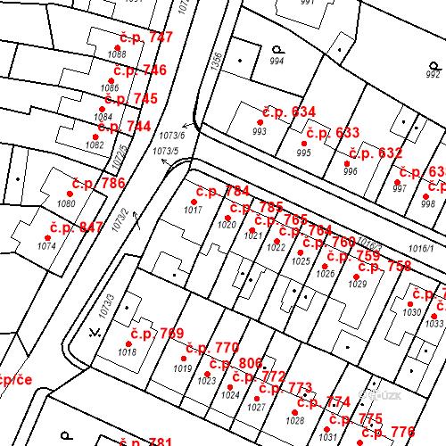 Katastrální mapa Stavební objekt Tachov 785, Tachov