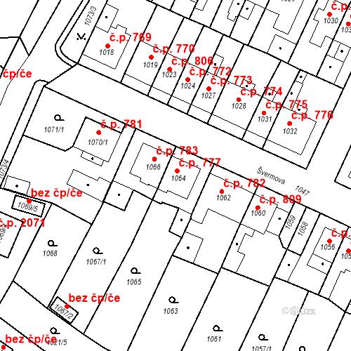 Katastrální mapa Stavební objekt Tachov 777, Tachov
