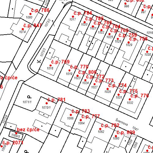 Katastrální mapa Stavební objekt Tachov 806, Tachov