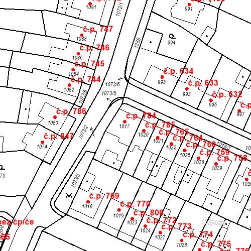Katastrální mapa Stavební objekt Tachov 784, Tachov