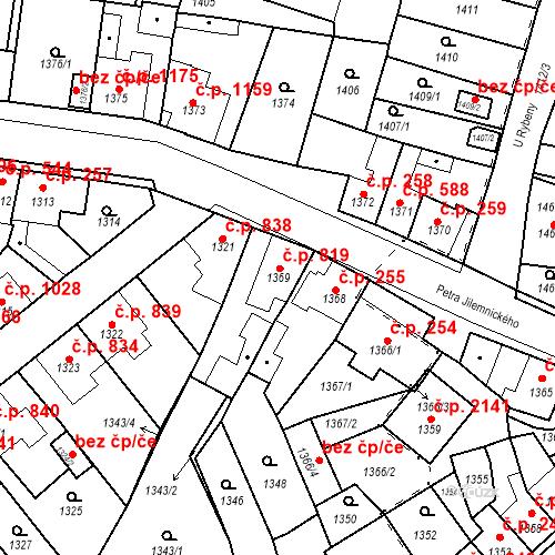 Katastrální mapa Stavební objekt Tachov 819, Tachov