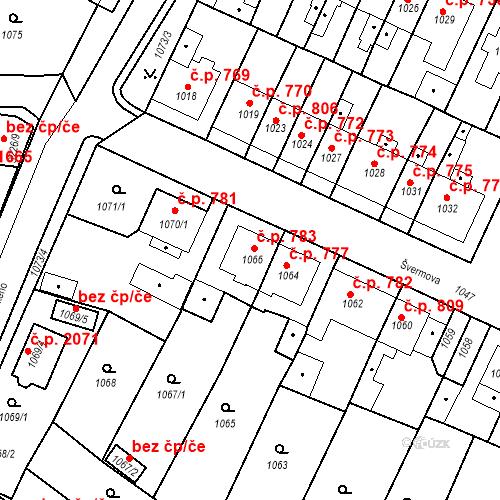 Katastrální mapa Stavební objekt Tachov 783, Tachov
