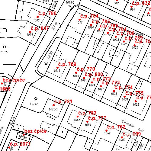 Katastrální mapa Stavební objekt Tachov 770, Tachov