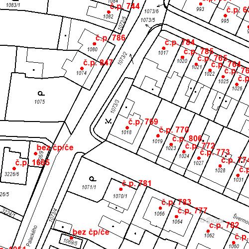 Katastrální mapa Stavební objekt Tachov 769, Tachov