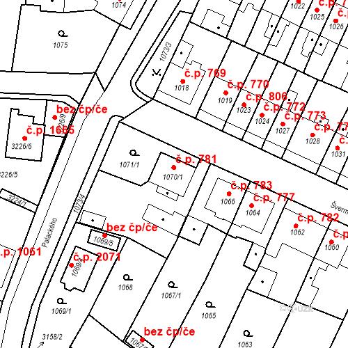 Katastrální mapa Stavební objekt Tachov 781, Tachov