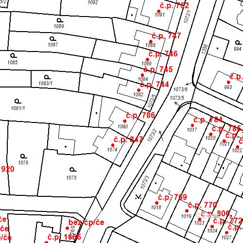 Katastrální mapa Stavební objekt Tachov 786, Tachov