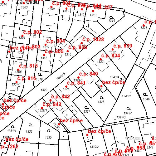 Katastrální mapa Stavební objekt Tachov 840, Tachov