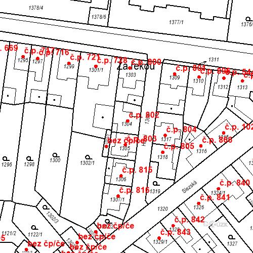 Katastrální mapa Stavební objekt Tachov 802, Tachov