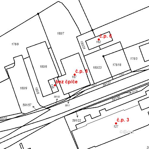 Katastrální mapa Stavební objekt Lísková 8, Nemanice