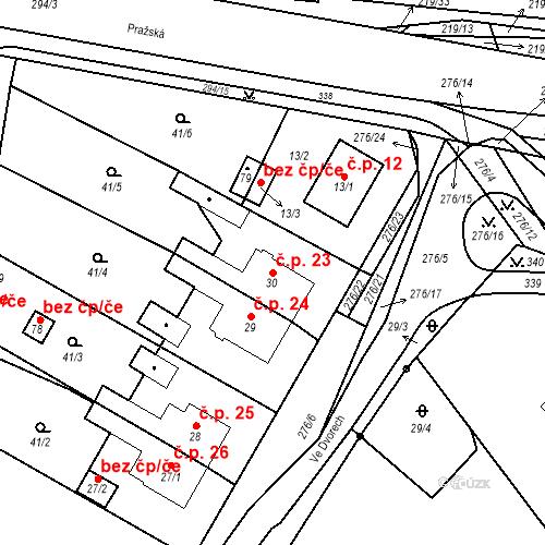 Katastrální mapa Stavební objekt Dolní Dvory 23, Cheb