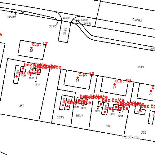 Katastrální mapa Stavební objekt Dolní Dvory 18, Cheb