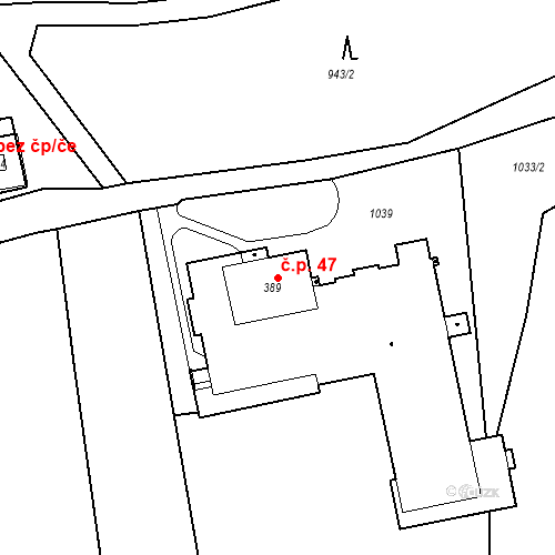 Katastrální mapa Stavební objekt Aleje-Zátiší 47, Františkovy Lázně