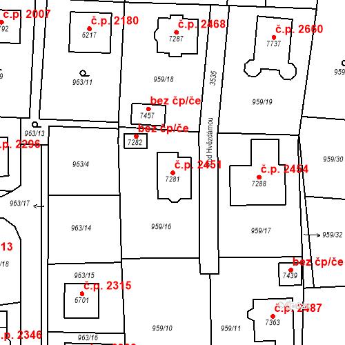 Katastrální mapa Stavební objekt Cheb 2451, Cheb
