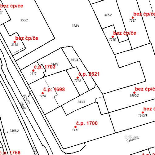 Katastrální mapa Stavební objekt Cheb 2621, Cheb