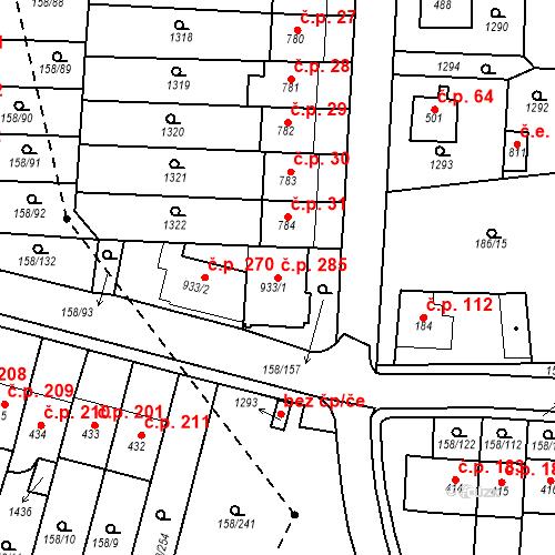Katastrální mapa Stavební objekt Háje 285, Cheb