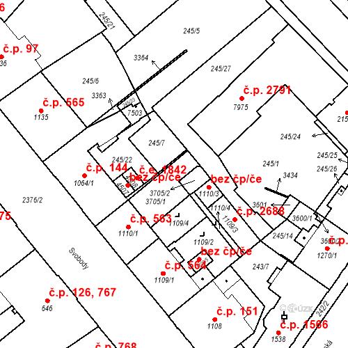 Katastrální mapa Stavební objekt Cheb 2590, Cheb