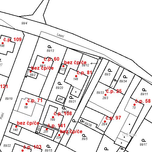 Katastrální mapa Stavební objekt Slatina 81, Františkovy Lázně