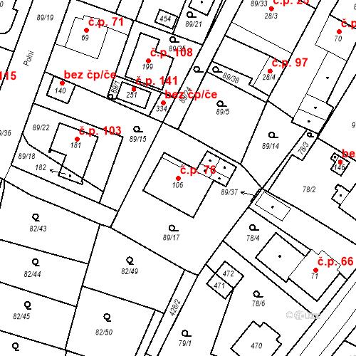 Katastrální mapa Stavební objekt Slatina 76, Františkovy Lázně