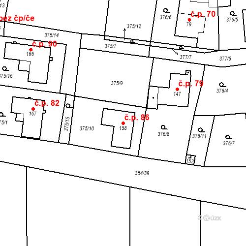 Katastrální mapa Stavební objekt Slatina 86, Františkovy Lázně
