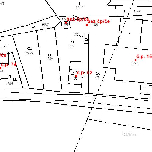 Katastrální mapa Stavební objekt Slatina 52, Františkovy Lázně