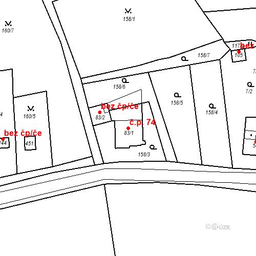 Katastrální mapa Stavební objekt Slatina 74, Františkovy Lázně