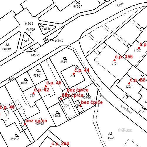 Katastrální mapa Stavební objekt Dolní Lomany 44, Františkovy Lázně