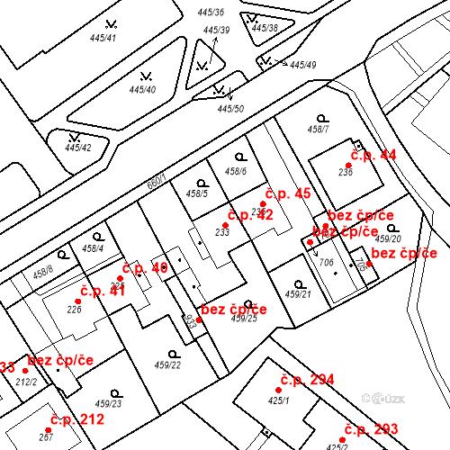Katastrální mapa Stavební objekt Dolní Lomany 42, Františkovy Lázně