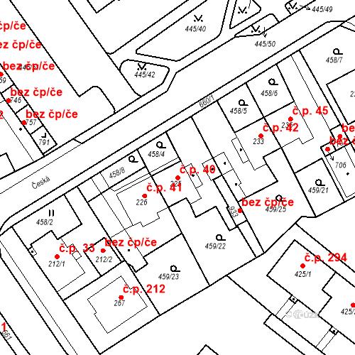 Katastrální mapa Stavební objekt Dolní Lomany 40, Františkovy Lázně