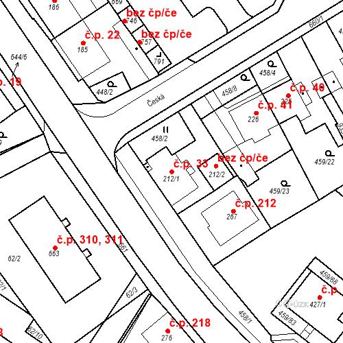 Katastrální mapa Stavební objekt Dolní Lomany 33, Františkovy Lázně