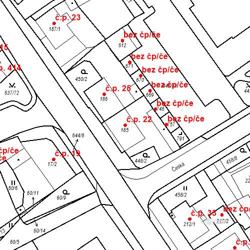 Katastrální mapa Stavební objekt Dolní Lomany 22, Františkovy Lázně