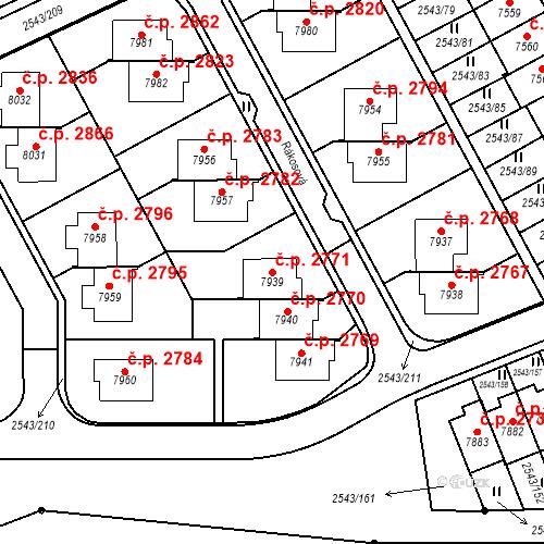 Katastrální mapa Stavební objekt Cheb 2771, Cheb