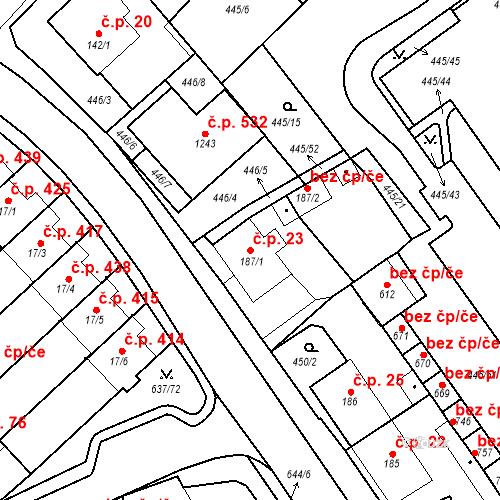 Katastrální mapa Stavební objekt Dolní Lomany 23, Františkovy Lázně