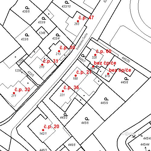 Katastrální mapa Stavební objekt Dolní Lomany 21, Františkovy Lázně