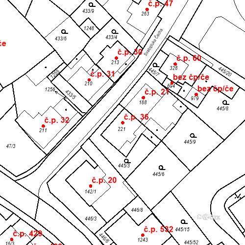 Katastrální mapa Stavební objekt Dolní Lomany 36, Františkovy Lázně