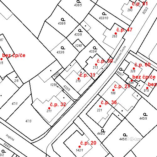 Katastrální mapa Stavební objekt Dolní Lomany 31, Františkovy Lázně