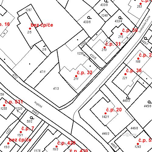 Katastrální mapa Stavební objekt Dolní Lomany 32, Františkovy Lázně