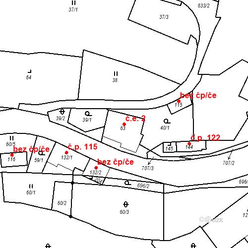 Katastrální mapa Stavební objekt Doubrava 2, Aš