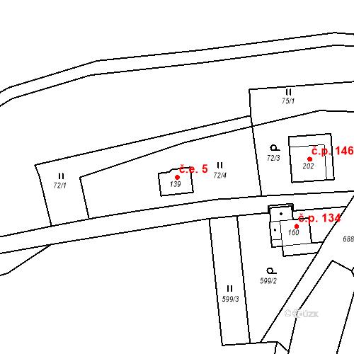Katastrální mapa Stavební objekt Doubrava 5, Aš